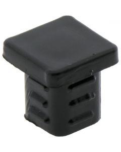 Square Plug Ribbed Black Plastic 12.7mm