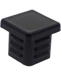 Square Plug Ribbed Black Plastic 16.0mm