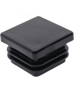Square Plug Ribbed Black Plastic 25.4mm