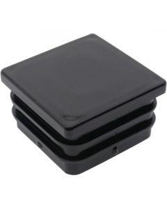 Square Plug Ribbed Black Plastic 38.1mm