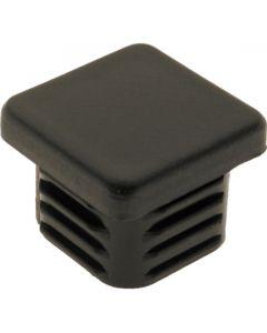 Square Plug Ribbed Black Plastic 20.0mm