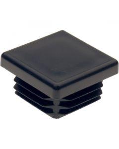 Square Plug Ribbed Black Plastic 30.0mm