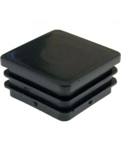 Square Plug Ribbed Black Plastic 44.0mm