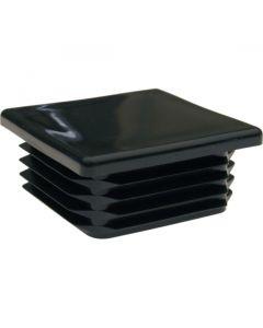 Square Plug Ribbed Black Plastic 60.0mm