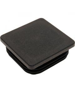 Square Plug Ribbed Black Plastic 75.0mm