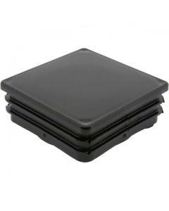 Square Plug Ribbed Black Plastic 65.0mm
